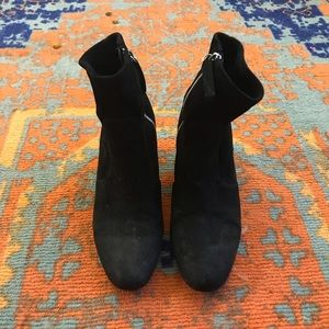 Suede black booties